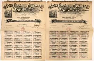 Societe Francaise du Vacuum Cleaner Stock Certificates
