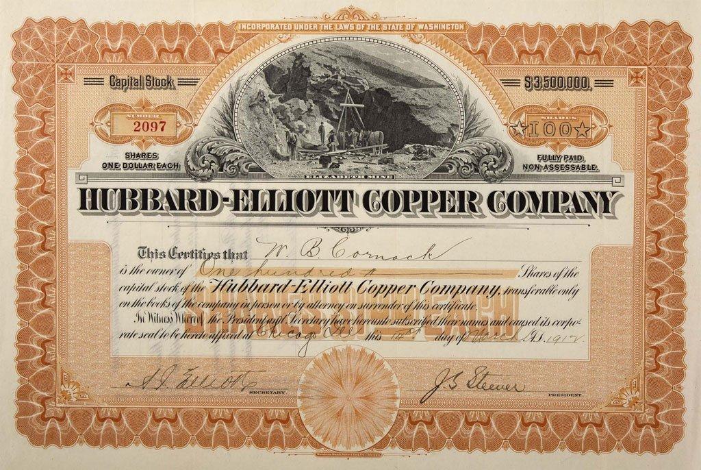 Hubbard-Elliott Copper Company Stock Certificate