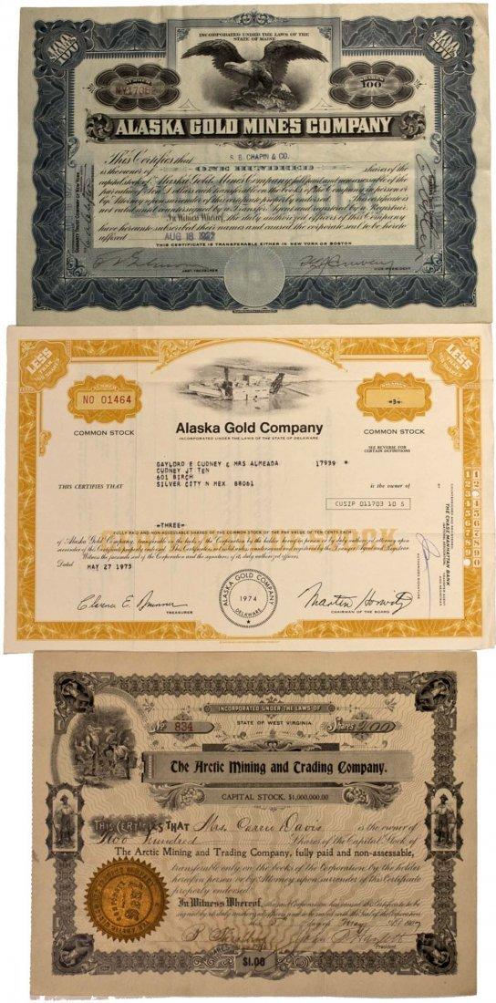 Alaska Gold Mining Stock Certificates