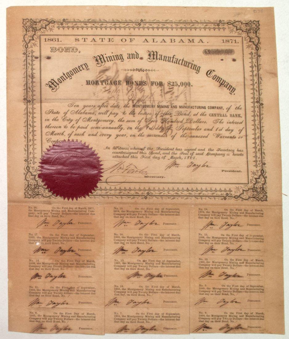 1861 Alabama Confederate Mining Bond