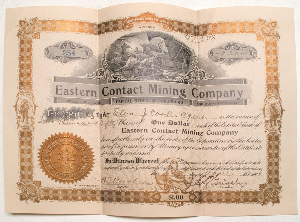 Eastern Contact Mining Company Stock *Territorial*