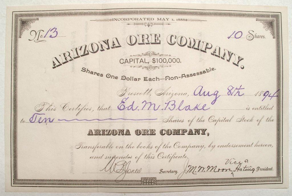 Arizona Ore Company stock