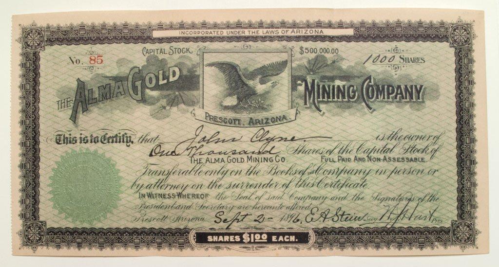Alma Gold Mining Stock -Prescott, AZ 1896