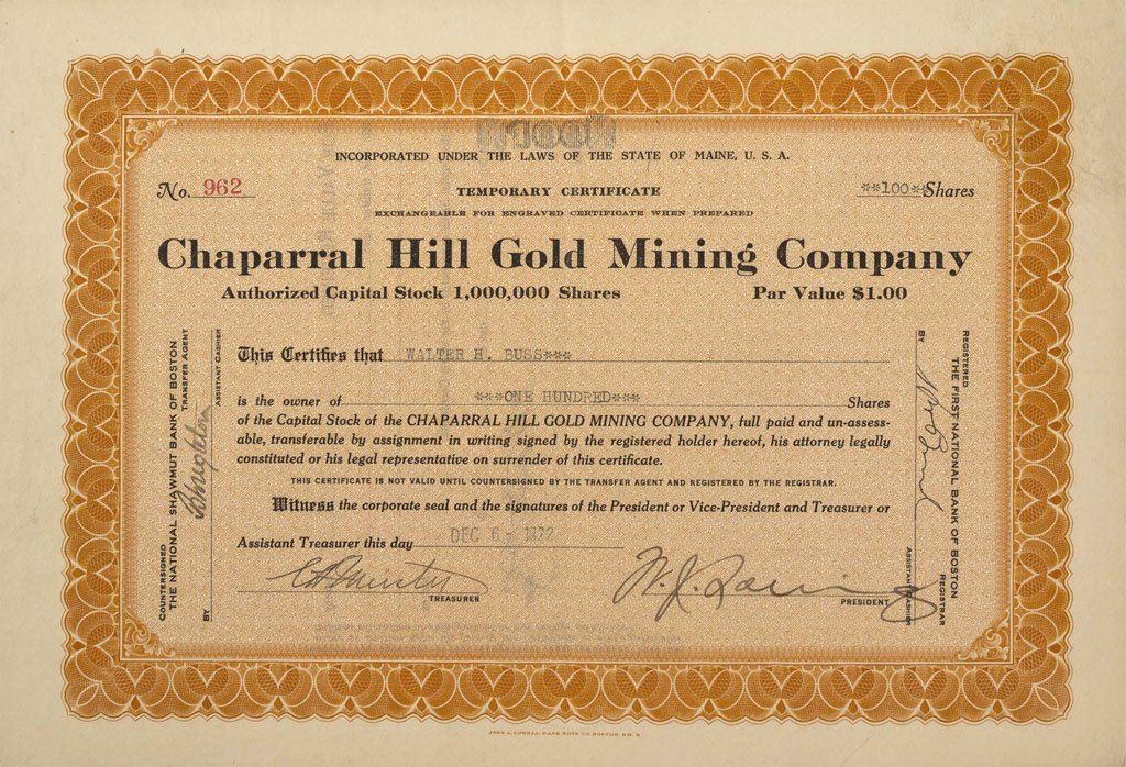 Chaparral Hill Gold Mining Company Stock Certificate