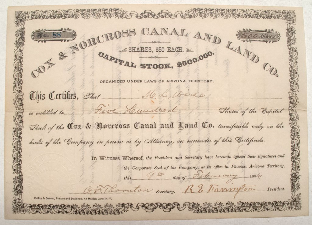 Cox & Norcross Canal and Land Co. stock