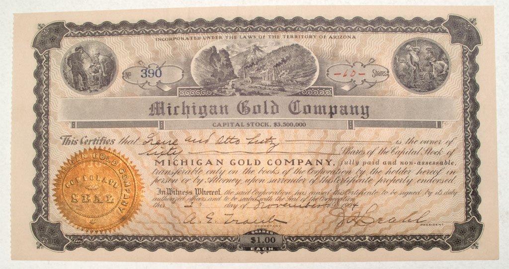 Michigan Gold Company Stock Certificate *Territorial*