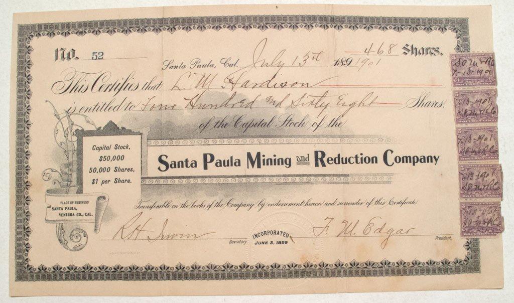 Santa Paula Mining and Reduction Company Stock