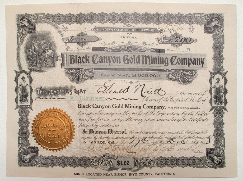 Black Canyon Gold Mining Company stock