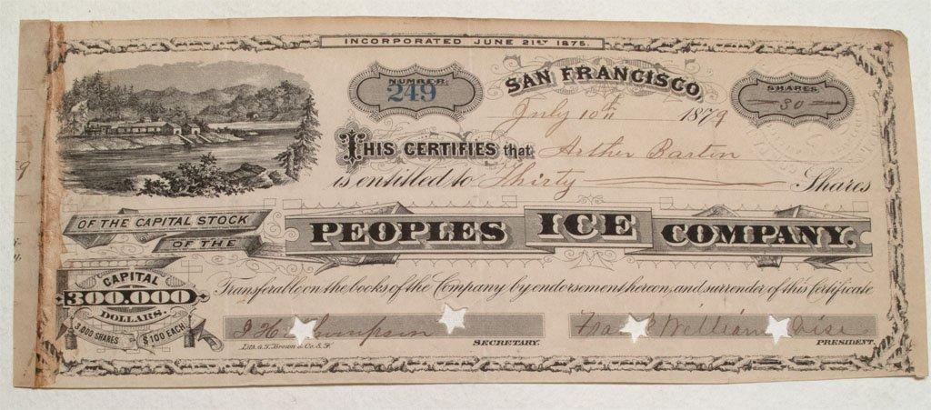 Peoples Ice Cream Company Stock 1879 -Boca, Cal