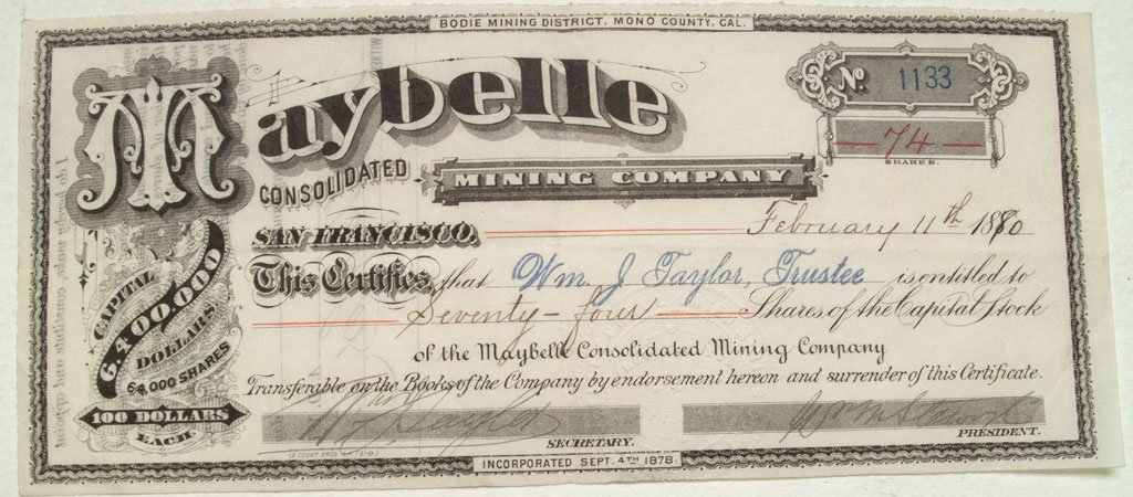 Rare Maybelle Consolidated Mining Company Stock from