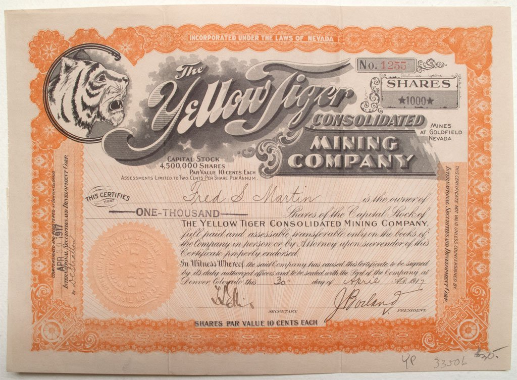 Yellow Tiger Consolidated Mining Company stock