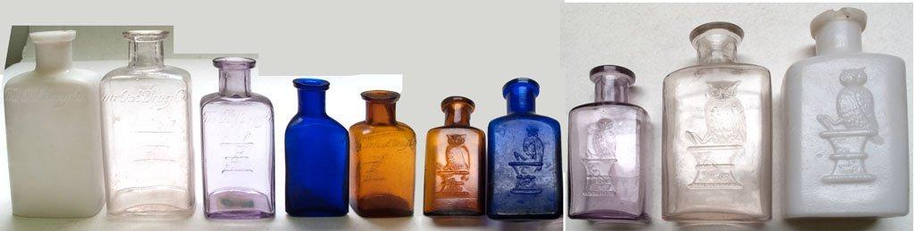 Five Owl Drug bottles / Five different colors