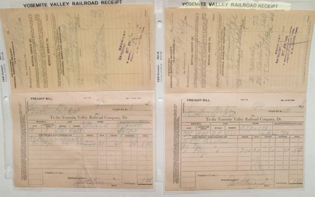 Yosemite Valley Railroad 1907 and 1909 Freight Bills!