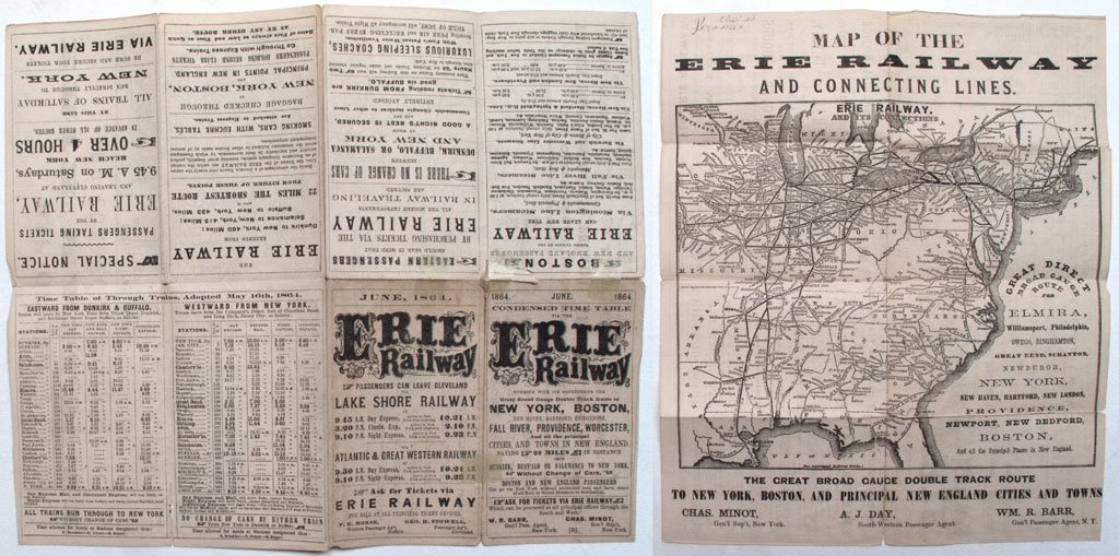 Erie Railway time table and map
