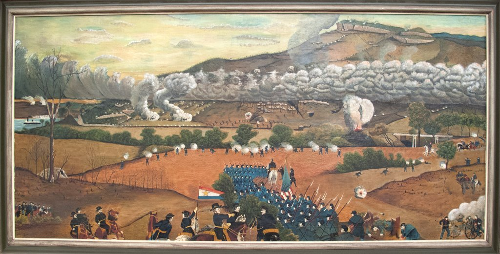 Folk Art painting of the Battle of Lookout Mountain: