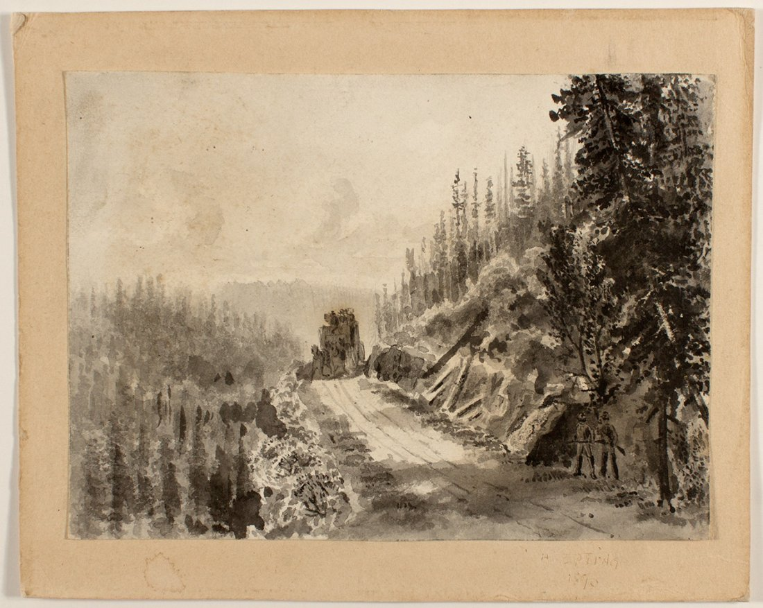 Stagecoach Hold-up Watercolor c. 1890