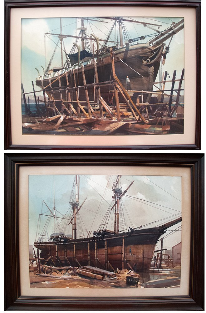 James Reynolds: Two watercolor paintings of ships