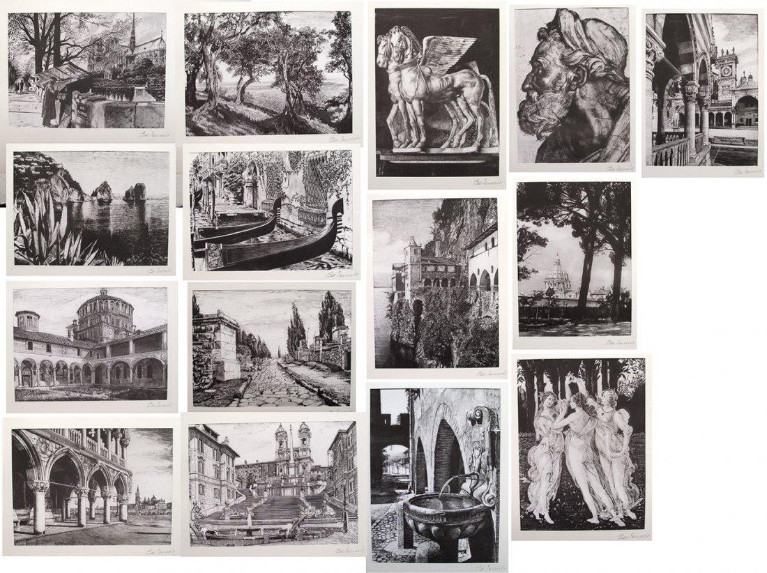 Giuseppe Mario D'Amico set of 15 prints w/ letter