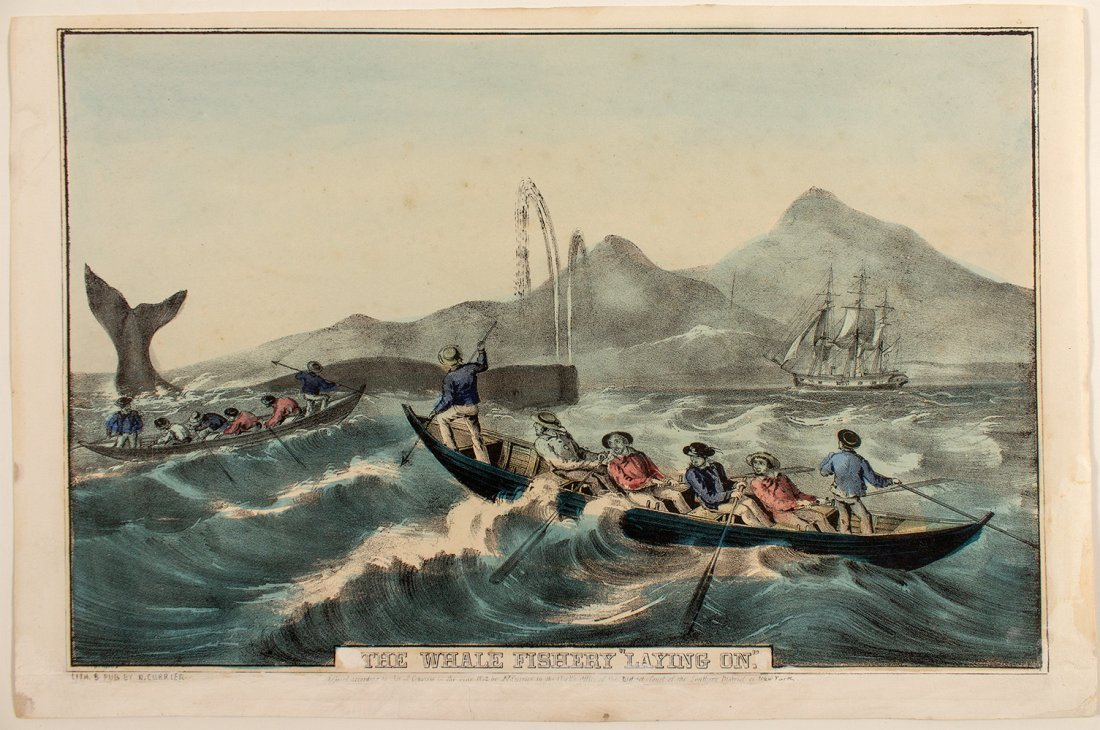 """""""The Whale Fishery 'Laying On.'"""" Lithograph, c. 1852,"""