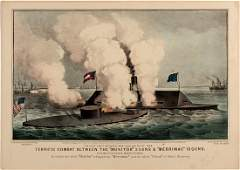 Battle of the Monitor and Merrimack Lithograph