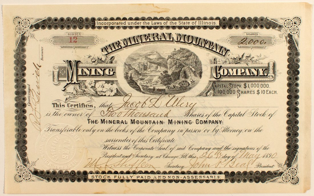 The Mineral Mountain Mining Company Stock Certificate