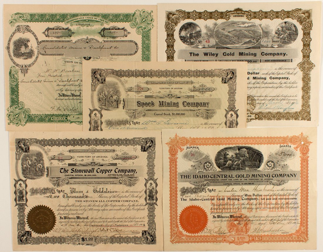 Five Arizona Corporations Issued between 1902 and 1910