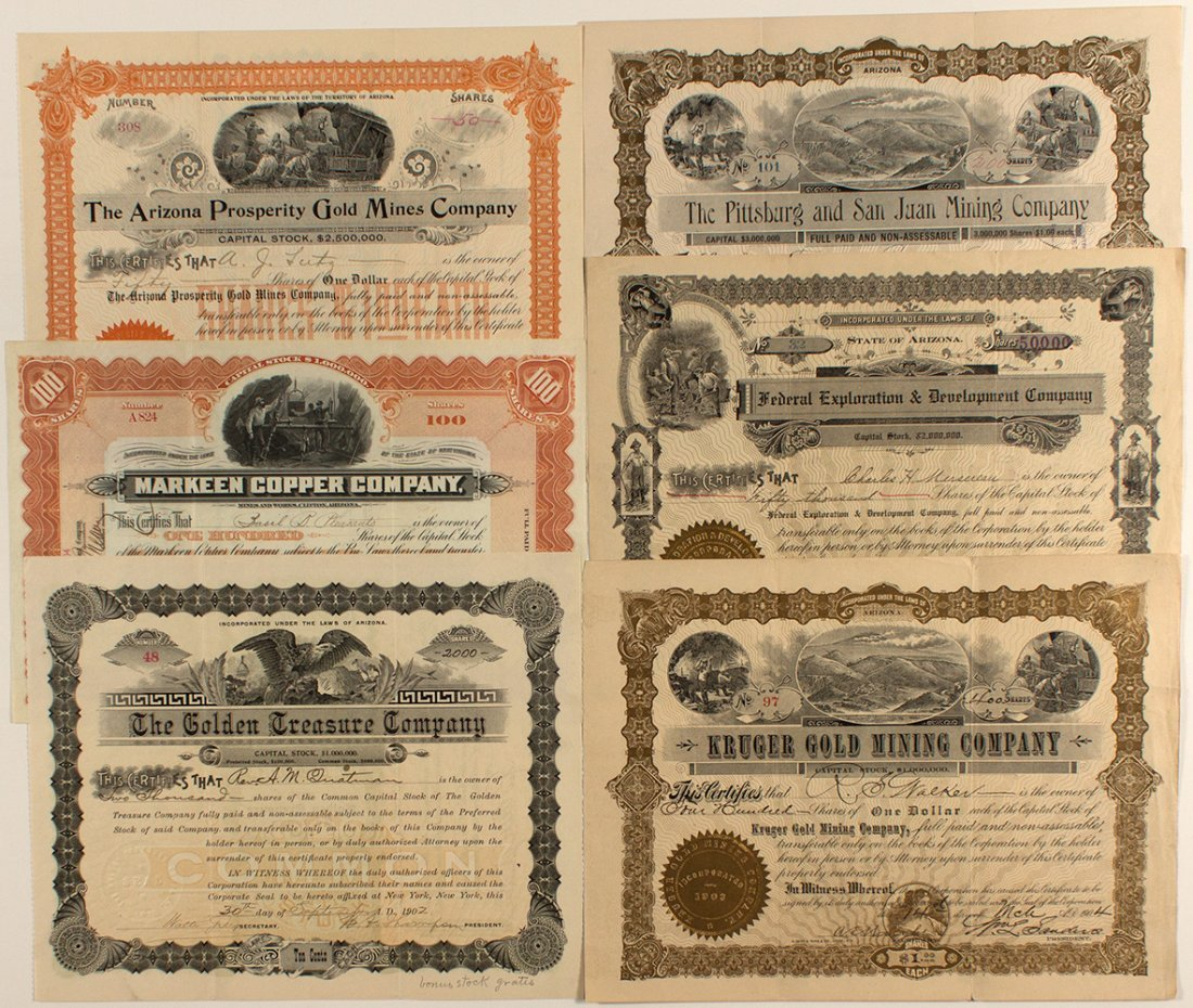 Six Arizona Corporations Issued between 1902 and 1910