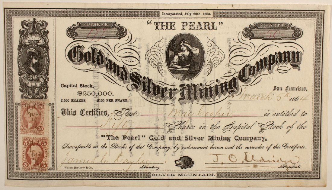 """The Pearl"" Gold and Silver Mining Co. Stock Cert."