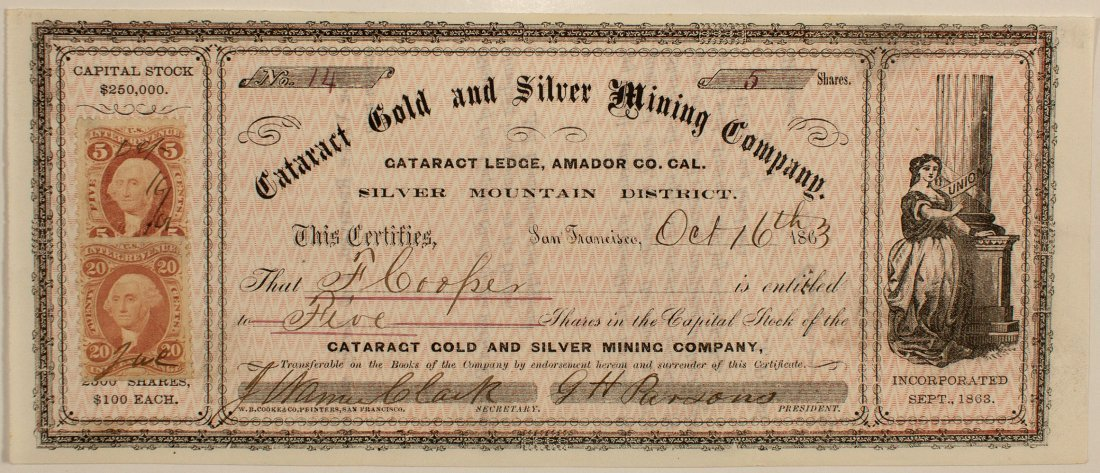 Cataract Gold & Silver Mining Co. Stock Cert.