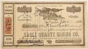 Eagle Gold Quartz Mining Co Stock Certificate