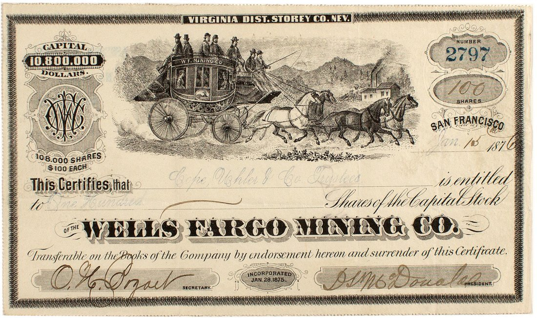 G.T. Brown Wells Fargo Mining Company Stock