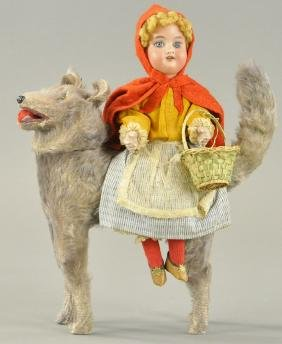RED RIDING HOOD ON BIG BAD WOLF CANDY CONTAINER