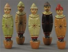 SET OF FIVE STANDING CLOWN SKITTLES