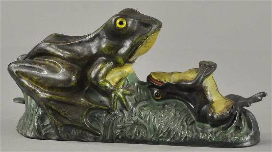TWO FROGS MECHANICAL BANK