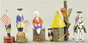 FIVE SUPERB GEORGE WASHINGTON CANDY CONTAINERS