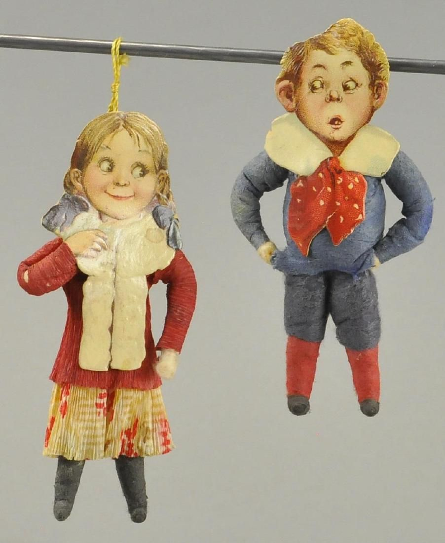 TWO PAPER FACE COTTON CHRISTMAS TREE ORNAMENTS