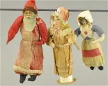 THREE COTTON BATTING CHRISTMAS TREE ORNAMENTS