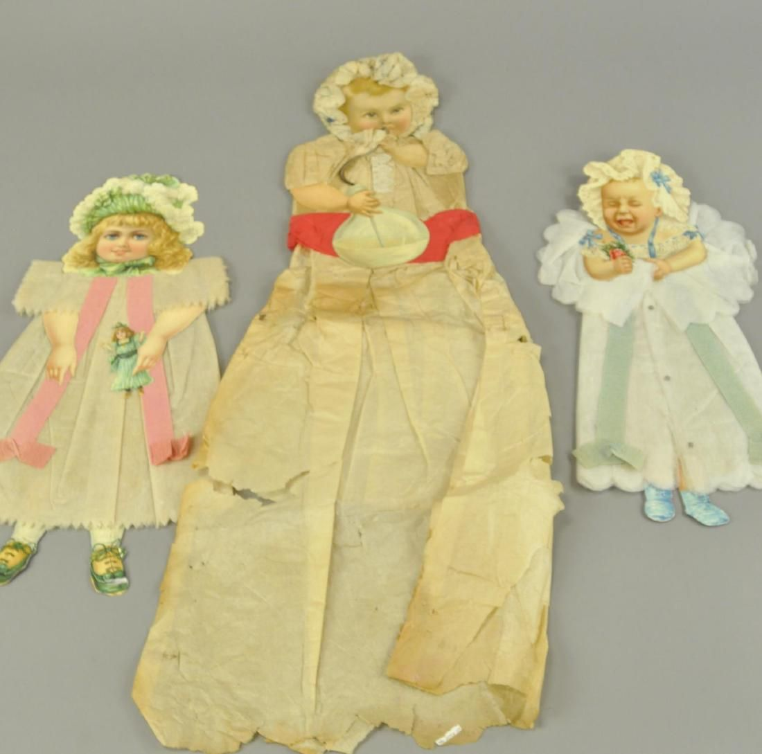 THREE DIE-CUT CHILDREN, COTTON SCRAPS