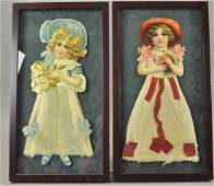 TWO EARLY COTTON SCRAP ORNAMENTS