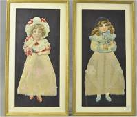 TWO EXCEPTIONALLY LARGE DIE-CUT GIRLS