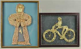 DIE-CUT SANTA AND CHILD ON BICYCLE