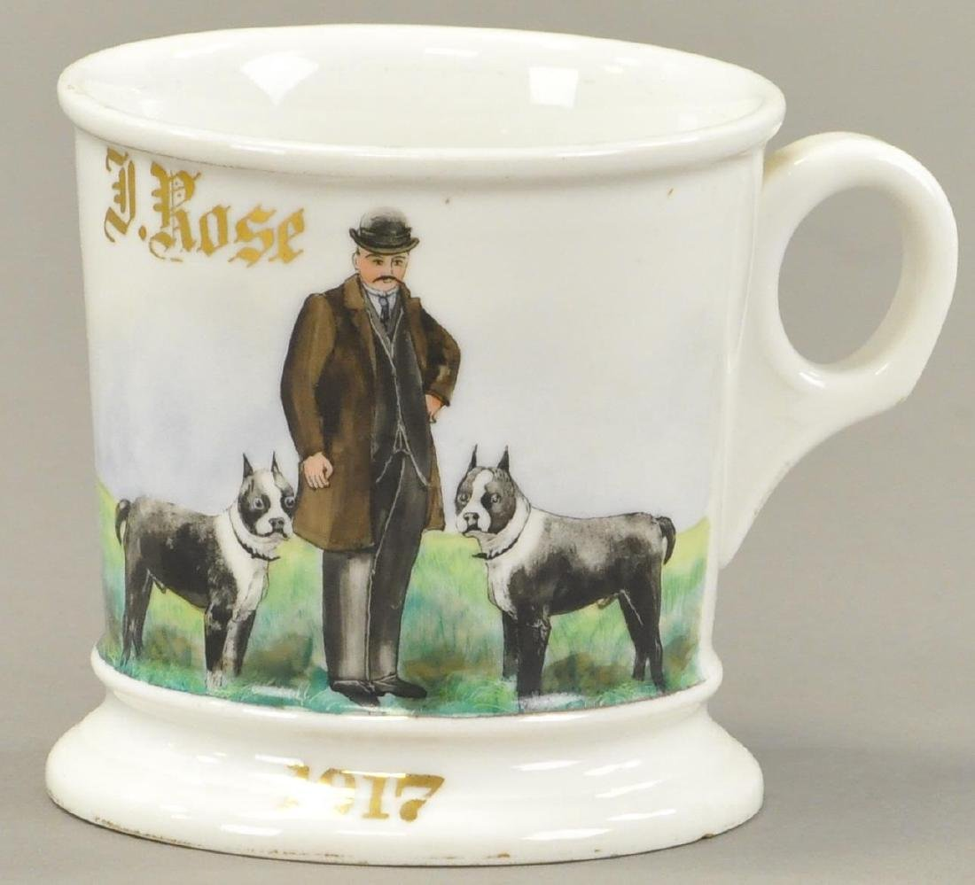 MAN WITH DOGS OCCUPATIONAL SHAVING MUG
