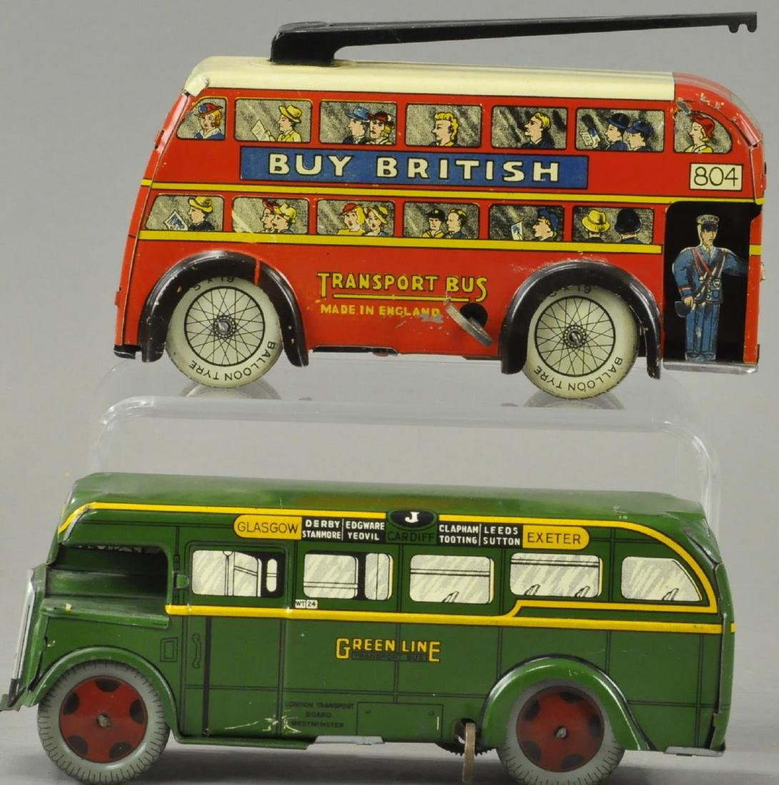 TWO ENGLISH WIND-UP AUTOBUSES
