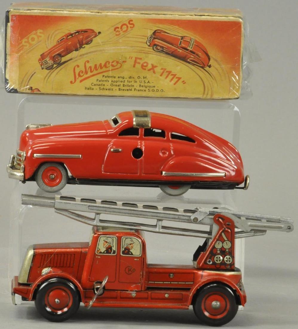 TWO GERMAN AUTOS - FIRE TRUCK/SCHUCO - 3