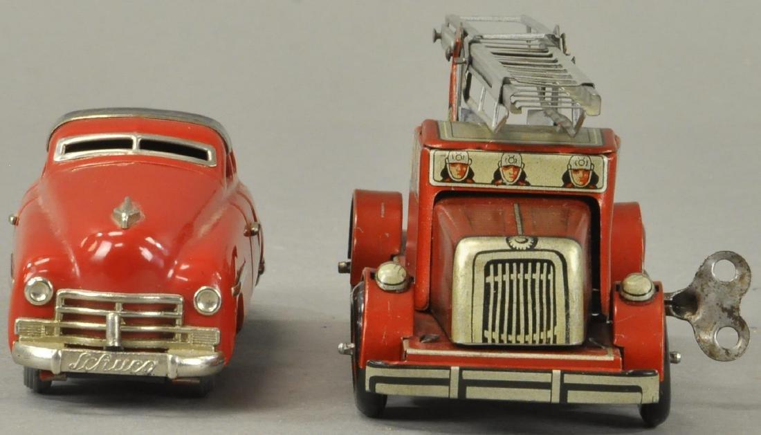 TWO GERMAN AUTOS - FIRE TRUCK/SCHUCO - 4
