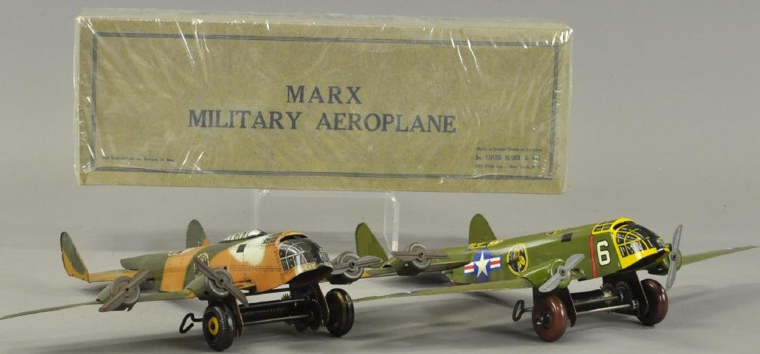 TWO MARX ARMY MILITARY AEROPLANES