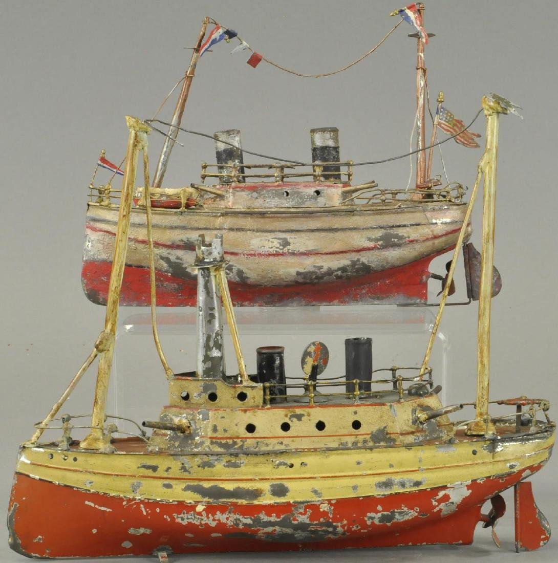 TWO HAND PAINTED GERMAN TIN BOATS