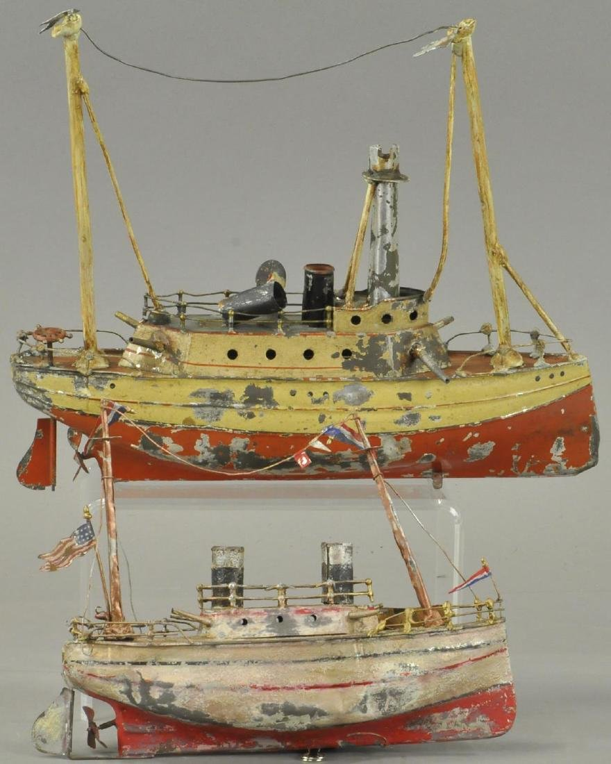 TWO HAND PAINTED GERMAN TIN BOATS - 2