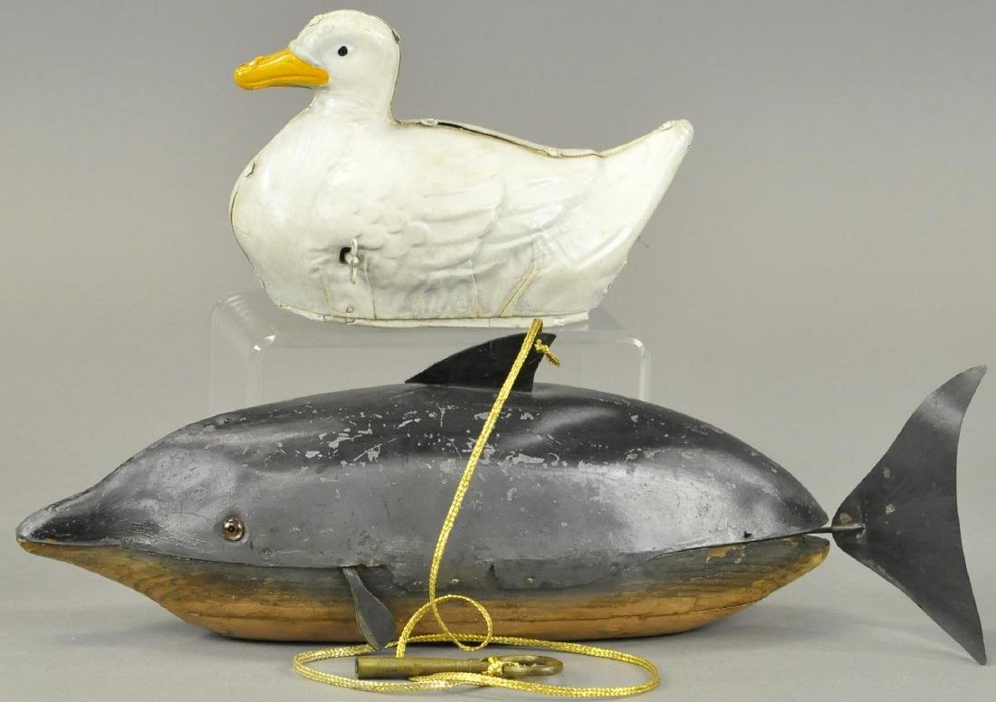 GERMAN TIN DIVING WHALE & SWIMMING DUCK