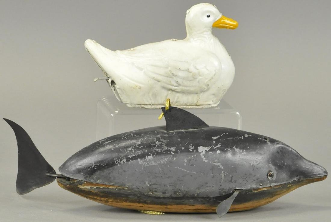 GERMAN TIN DIVING WHALE & SWIMMING DUCK - 2